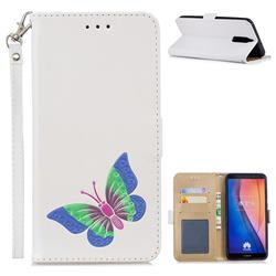 Imprint Embossing Butterfly Leather Wallet Case for Huawei Mate 10 Lite / Nova 2i / Horor 9i / G10 - White