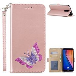 Imprint Embossing Butterfly Leather Wallet Case for Huawei Mate 10 Lite / Nova 2i / Horor 9i / G10 - Rose Gold