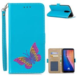 Imprint Embossing Butterfly Leather Wallet Case for Huawei Mate 10 Lite / Nova 2i / Horor 9i / G10 - Sky Blue