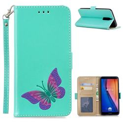 Imprint Embossing Butterfly Leather Wallet Case for Huawei Mate 10 Lite / Nova 2i / Horor 9i / G10 - Mint Green
