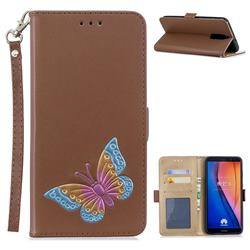 Imprint Embossing Butterfly Leather Wallet Case for Huawei Mate 10 Lite / Nova 2i / Horor 9i / G10 - Brown