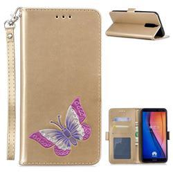 Imprint Embossing Butterfly Leather Wallet Case for Huawei Mate 10 Lite / Nova 2i / Horor 9i / G10 - Golden