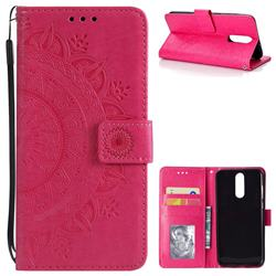 Intricate Embossing Datura Leather Wallet Case for Huawei Mate 10 Lite / Nova 2i / Horor 9i / G10 - Rose Red