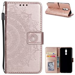 Intricate Embossing Datura Leather Wallet Case for Huawei Mate 10 Lite / Nova 2i / Horor 9i / G10 - Rose Gold