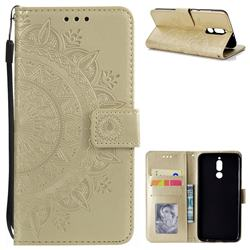 Intricate Embossing Datura Leather Wallet Case for Huawei Mate 10 Lite / Nova 2i / Horor 9i / G10 - Golden