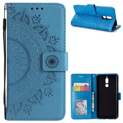 Intricate Embossing Datura Leather Wallet Case for Huawei Mate 10 Lite / Nova 2i / Horor 9i / G10 - Blue
