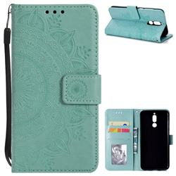 Intricate Embossing Datura Leather Wallet Case for Huawei Mate 10 Lite / Nova 2i / Horor 9i / G10 - Mint Green