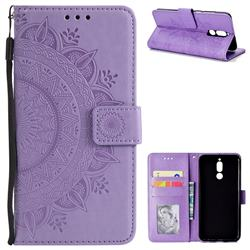 Intricate Embossing Datura Leather Wallet Case for Huawei Mate 10 Lite / Nova 2i / Horor 9i / G10 - Purple