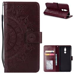 Intricate Embossing Datura Leather Wallet Case for Huawei Mate 10 Lite / Nova 2i / Horor 9i / G10 - Brown