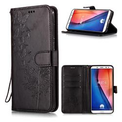 Intricate Embossing Dandelion Butterfly Leather Wallet Case for Huawei Mate 10 Lite / Nova 2i / Horor 9i / G10 - Black