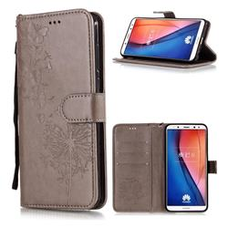 Intricate Embossing Dandelion Butterfly Leather Wallet Case for Huawei Mate 10 Lite / Nova 2i / Horor 9i / G10 - Gray