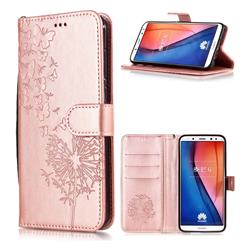 Intricate Embossing Dandelion Butterfly Leather Wallet Case for Huawei Mate 10 Lite / Nova 2i / Horor 9i / G10 - Rose Gold