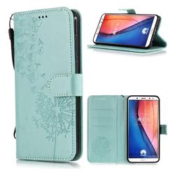Intricate Embossing Dandelion Butterfly Leather Wallet Case for Huawei Mate 10 Lite / Nova 2i / Horor 9i / G10 - Green
