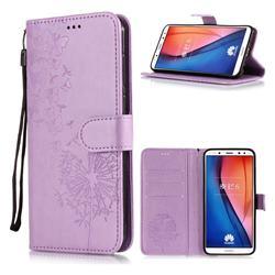 Intricate Embossing Dandelion Butterfly Leather Wallet Case for Huawei Mate 10 Lite / Nova 2i / Horor 9i / G10 - Purple