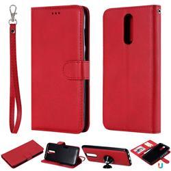 Retro Greek Detachable Magnetic PU Leather Wallet Phone Case for Huawei Mate 10 Lite / Nova 2i / Horor 9i / G10 - Red