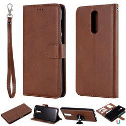 Retro Greek Detachable Magnetic PU Leather Wallet Phone Case for Huawei Mate 10 Lite / Nova 2i / Horor 9i / G10 - Brown