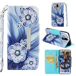 Button Flower Big Metal Buckle PU Leather Wallet Phone Case for Huawei Mate 10 Lite / Nova 2i / Horor 9i / G10