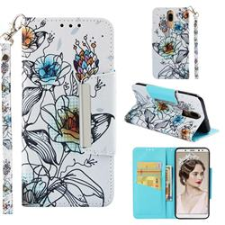 Fotus Flower Big Metal Buckle PU Leather Wallet Phone Case for Huawei Mate 10 Lite / Nova 2i / Horor 9i / G10