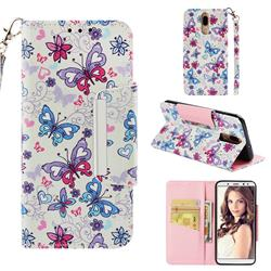 Colored Butterfly Big Metal Buckle PU Leather Wallet Phone Case for Huawei Mate 10 Lite / Nova 2i / Horor 9i / G10