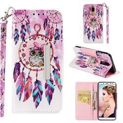 Owl Wind Chimes Big Metal Buckle PU Leather Wallet Phone Case for Huawei Mate 10 Lite / Nova 2i / Horor 9i / G10