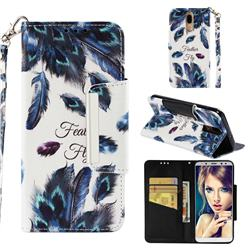 Peacock Feather Big Metal Buckle PU Leather Wallet Phone Case for Huawei Mate 10 Lite / Nova 2i / Horor 9i / G10