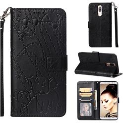 Embossing Fireworks Elephant Leather Wallet Case for Huawei Mate 10 Lite / Nova 2i / Horor 9i / G10 - Black