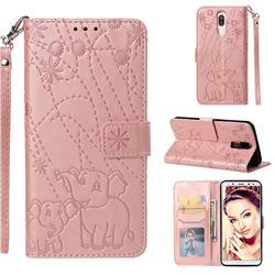 Embossing Fireworks Elephant Leather Wallet Case for Huawei Mate 10 Lite / Nova 2i / Horor 9i / G10 - Rose Gold