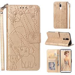Embossing Fireworks Elephant Leather Wallet Case for Huawei Mate 10 Lite / Nova 2i / Horor 9i / G10 - Golden