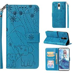 Embossing Fireworks Elephant Leather Wallet Case for Huawei Mate 10 Lite / Nova 2i / Horor 9i / G10 - Blue
