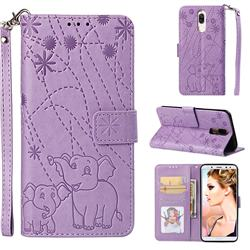 Embossing Fireworks Elephant Leather Wallet Case for Huawei Mate 10 Lite / Nova 2i / Horor 9i / G10 - Purple