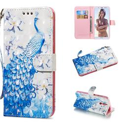 Blue Peacock 3D Painted Leather Wallet Phone Case for Huawei Mate 10 Lite / Nova 2i / Horor 9i / G10