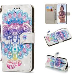 Colorful Elephant 3D Painted Leather Wallet Phone Case for Huawei Mate 10 Lite / Nova 2i / Horor 9i / G10