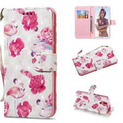 Flamingo 3D Painted Leather Wallet Phone Case for Huawei Mate 10 Lite / Nova 2i / Horor 9i / G10