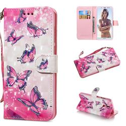 Pink Butterfly 3D Painted Leather Wallet Phone Case for Huawei Mate 10 Lite / Nova 2i / Horor 9i / G10