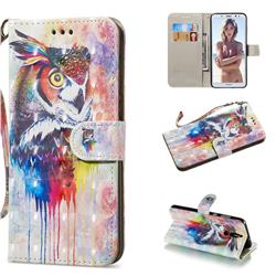 Watercolor Owl 3D Painted Leather Wallet Phone Case for Huawei Mate 10 Lite / Nova 2i / Horor 9i / G10