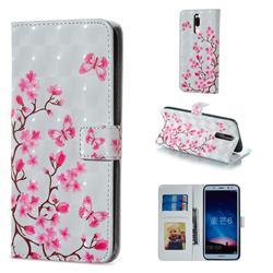 Butterfly Sakura Flower 3D Painted Leather Phone Wallet Case for Huawei Mate 10 Lite / Nova 2i / Horor 9i / G10