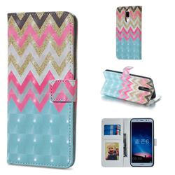 Color Wave 3D Painted Leather Phone Wallet Case for Huawei Mate 10 Lite / Nova 2i / Horor 9i / G10