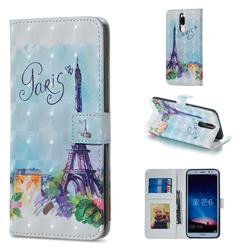 Paris Tower 3D Painted Leather Phone Wallet Case for Huawei Mate 10 Lite / Nova 2i / Horor 9i / G10