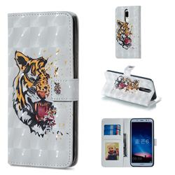 Toothed Tiger 3D Painted Leather Phone Wallet Case for Huawei Mate 10 Lite / Nova 2i / Horor 9i / G10