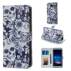 Skull Flower 3D Painted Leather Phone Wallet Case for Huawei Mate 10 Lite / Nova 2i / Horor 9i / G10