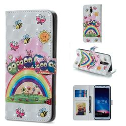 Rainbow Owl Family 3D Painted Leather Phone Wallet Case for Huawei Mate 10 Lite / Nova 2i / Horor 9i / G10