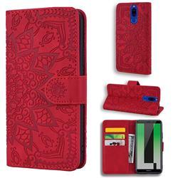 Retro Embossing Mandala Flower Leather Wallet Case for Huawei Mate 10 Lite / Nova 2i / Horor 9i / G10 - Red