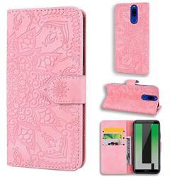 Retro Embossing Mandala Flower Leather Wallet Case for Huawei Mate 10 Lite / Nova 2i / Horor 9i / G10 - Pink
