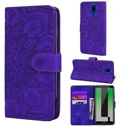 Retro Embossing Mandala Flower Leather Wallet Case for Huawei Mate 10 Lite / Nova 2i / Horor 9i / G10 - Purple