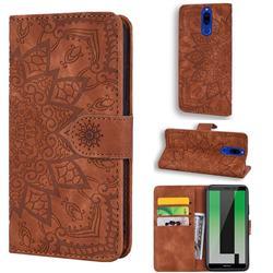 Retro Embossing Mandala Flower Leather Wallet Case for Huawei Mate 10 Lite / Nova 2i / Horor 9i / G10 - Brown