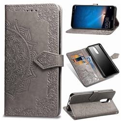 Embossing Imprint Mandala Flower Leather Wallet Case for Huawei Mate 10 Lite / Nova 2i / Horor 9i / G10 - Gray