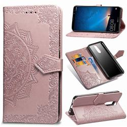 Embossing Imprint Mandala Flower Leather Wallet Case for Huawei Mate 10 Lite / Nova 2i / Horor 9i / G10 - Rose Gold