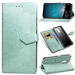 Embossing Imprint Mandala Flower Leather Wallet Case for Huawei Mate 10 Lite / Nova 2i / Horor 9i / G10 - Green
