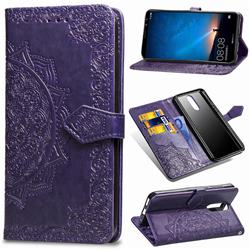 Embossing Imprint Mandala Flower Leather Wallet Case for Huawei Mate 10 Lite / Nova 2i / Horor 9i / G10 - Purple
