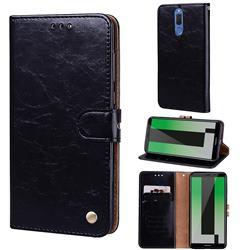 Luxury Retro Oil Wax PU Leather Wallet Phone Case for Huawei Mate 10 Lite / Nova 2i / Horor 9i / G10 - Deep Black